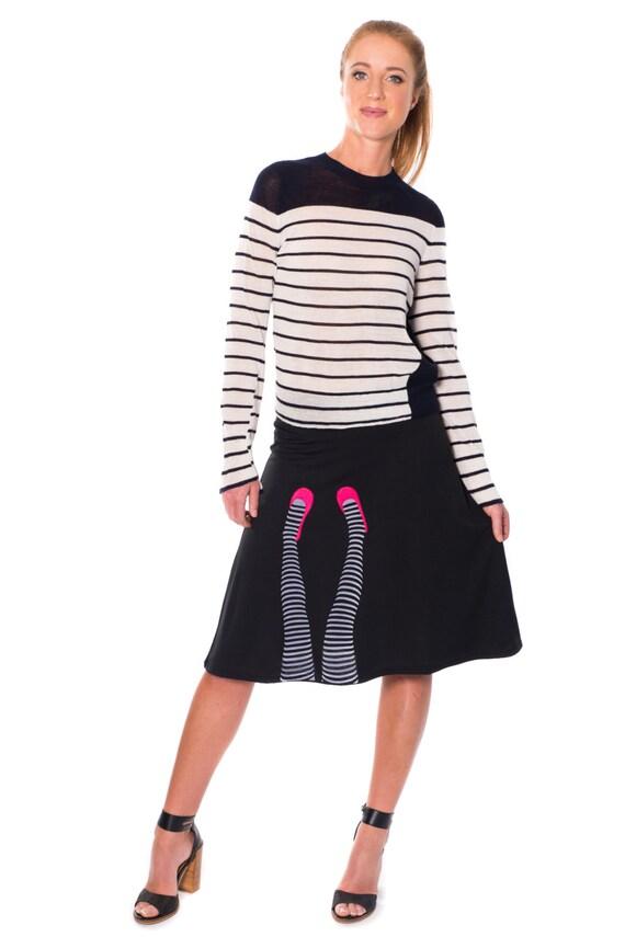 black knee length a line skirt dress