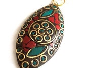 1 pc- Tribal Ethnic Tibetian Blue Red Gold Tone  Pendant-53x25 mm-(026-018GP)