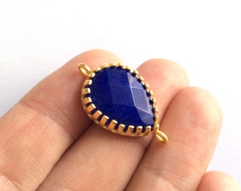 1pc- Matte Gold Plated Electric Blue Jade,  Tear Drop Connector- 32x12mm (025-035GP)