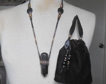 Beaded Obsidian Crystal Point Massage Wand Necklace with Black Jasper Onyx Semiprecious Stone Gemstone Beads Extra Large Size Enchanted Etsy