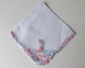Vintage pink and blue hanky crochet sunbonnet sue hanky pink southern belle hanky vintage handkerchief pink handkerchief