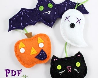 Felt Halloween Ornaments PDF Pattern Embroidery Hand Sewing Bat Pumpkin Ghost Cat