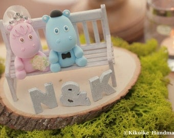 hippo Wedding Cake Topper---k723