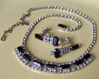 Vintage Black and Clear Rhinestone Necklace and Earring Set Bridal Jewelry 1940 Classic Hollywood Retro Glam Prom