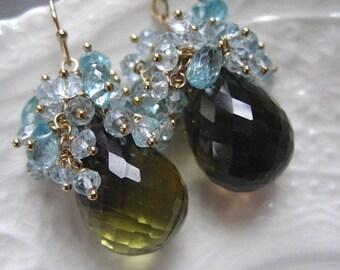"""Gemstone Briolette Earrings-Teardrop Earrings-Quartz and Blue Topaz-""""Land and Sea"""""""