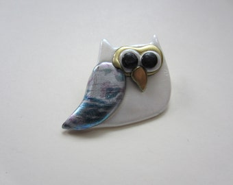 Whimsical owl pin brooch bird in white