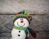 Needle Felt Snowman - Needle Felted Snowman - Christmas Snowman - Christmas Decoration - Christmas Decor -  Wool Snowman - Winter Décor -781