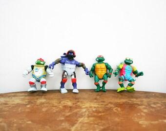 vintage 1990s Teenage Mutant Ninja Turtles Action Figures Lot // 90s Nostalgia Instant Collection