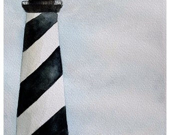 Nautical Lighthouse Cape Hatteras, Black and White Striped, Giclee Print