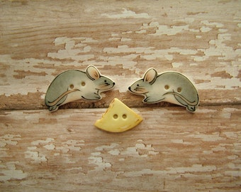Mice and Cheese Buttons 3 pc.