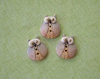 Owl Button set of 3