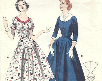 1950s Butterick 7203 Vintage Sewing Pattern Misses Full Skirted Dress, Spectator Dress, Coat Dress Size 14 Bust 32