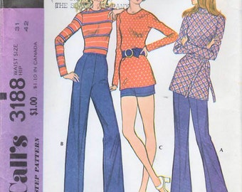 1970s McCall's 3188 Vintage Sewing Pattern Misses Pants, Shorts Size Waist 31
