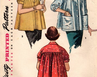 1950s Simplicity 4447 Vintage Sewing Pattern Misses Maternity Jacket, Smock Size 16 Bust 34