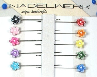 Flower Sewing Pins - Set of 10
