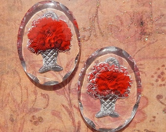 Vintage Glass Intaglio Cabochons - 30x40 mm Red Flower Basket Reverse Painted Shabby Chic (2 pc)