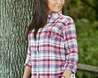 Bride Flannel Shirt - Blush Plaid - Monogrammed Flannel Shirt, Bride Plaid Shirt, Bridesmaid Flannel Shirt, Monogrammed Plaid Shirt,