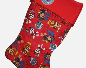 PERSONALIZED Paw Patrol Christmas Stocking, Disney Paw Patrol Stocking,Quilted Stocking,Paw Partol
