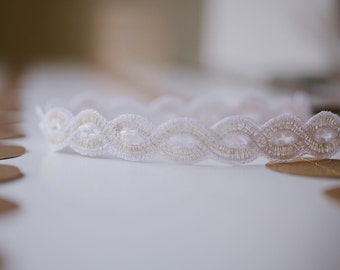 Silver and Pure White Woven Headband Women Teen Adult