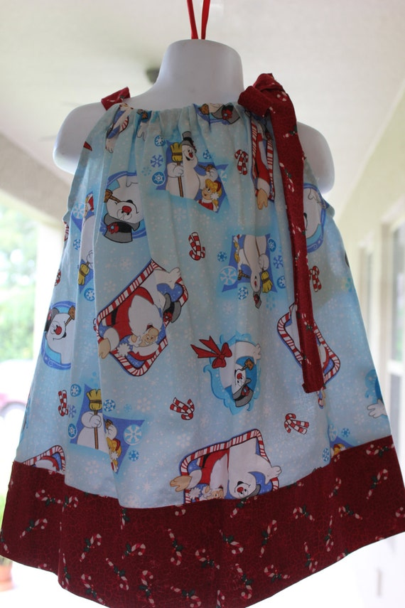 Christmas Pillowcase Dress, Handmade, Santa and Frosty Dress,Baby Dress, Toddler Dress, Preteen Dress,Holiday Dress ,Cotton Dress