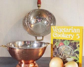 vintage colander - large copper kitchen strainer with brass handles