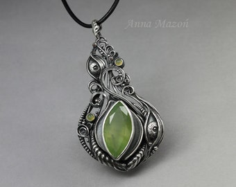 In the eye of the beholder 04 - witness - hand carved silver, prehnite, agates ONE OF A KIND