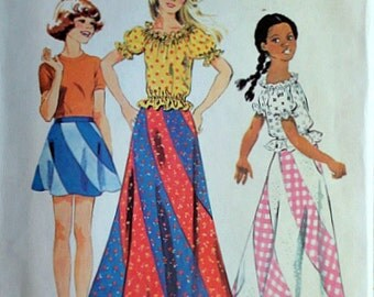 Vintage 70's Simplicity 6306 Sewing Pattern, Girls' Bias Skirt in two Lengths and Blouse, Size 8, 27 Breast, Retro Boho Hippie, Uncut FF