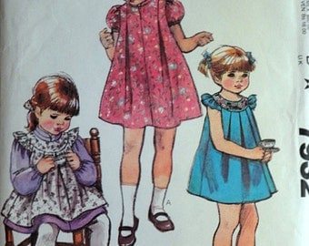 Vintage 80's McCall's 7932 Sewing Pattern, Toddlers' Dress, Pinafore Or Sundress, Size 3, Uncut FF