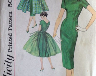 Vintage 50's Simplicity 2602 Sewing Pattern, Misses' Dress And Overskirt In Two Lengths, Size 14, 34 Bust, Easy To Make, Rockabilly
