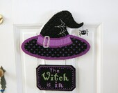 PATTERN: The Witch Is In Halloween Plastic Canvas Wall Hanging