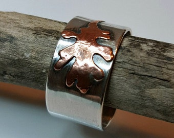 Oak Leaf Ring, Sterling Silver, Copper, Open Band, Cuff Ring, Nature, Earthy, Wearable Art, Metalwork, Autumn Ring, Wide Band Ring
