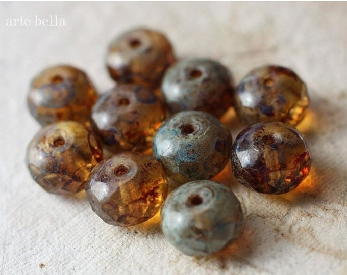 CARAMEL CORN .. 10 Picasso Czech Faceted Rondelle Glass Beads 7x10mm (4735-10)