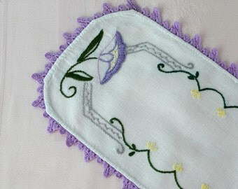 "Art Deco Style Doily Dresser Scarf Tray Liner Purple and Green Hand Embroidered Rectangular Oval 15"" Long Flowered Doily"