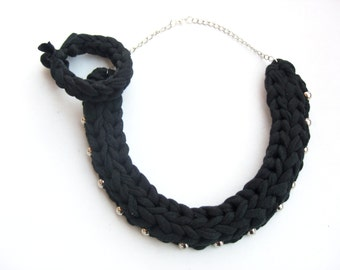 Black Braided Necklace, Black and Silver Necklace, Black Woven Necklace, Boho Necklace, Black Cotton Necklace, Black Accessories.