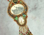 Necklace, bead embroidery, beaded, quail, scrimshaw, green, brown necklace
