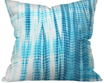 Aqua Blue Shibori Tie Dye Cotton Throw Accent Pillow