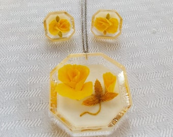 1950s Vintage Sterling Silver Yellow Roses in Lucite Necklace and Earring Set
