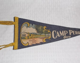 1930s Vintage Camp Perry Ohio Pennant New Commercial Center