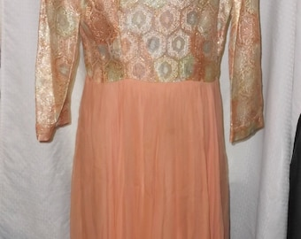 1960s Vintage Coral Color Chiffon and Brocade Evening Maxi Dress 40 Bust 32 Waist