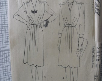 """1940s Dress - 32"""" Bust - McCall 5408 - Vintage Sewing Pattern"""