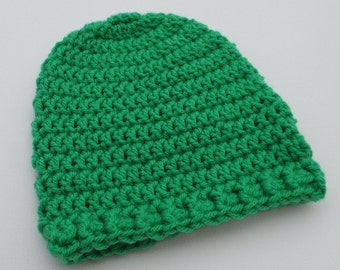 Newborn Crochet Hat, Bright Green Beanie, Baby Hat, Infant Photo Prop, Coming Home Hat, Baby Boy Hat, Baby Gift, Ready to Ship