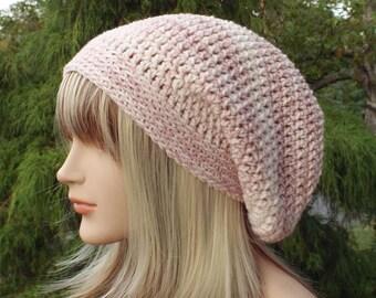 Pink Denim Slouchy Beanie, Womens Crochet Hat, Slouchy Hat, Slouch Beanie, Hipster Hat, Oversized Slouch Hat, Baggy Beanie