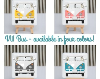Coaster - Fused glass - VW Bus - Choose blue, grey, yellow and pink