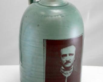 Edgar Allan Poe jug moonshine whiskey handmade