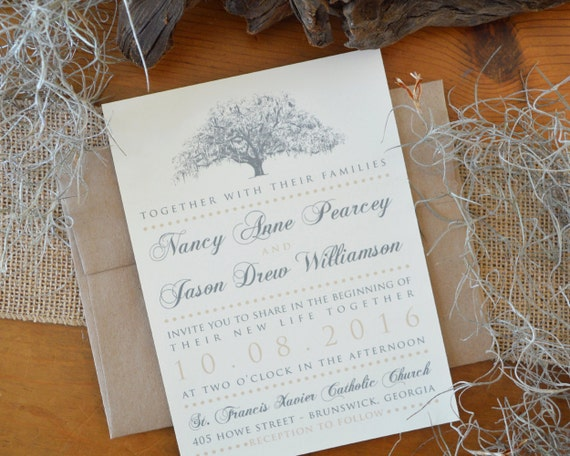 Live Oak Tree Wedding Invitations