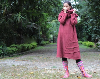 Tulip...Autumn dress Maroon Red...thick cotton hand made .. (one size fits S-L)(1140)