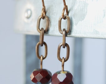 burgundy wine Czech glass natural brass earrings by CURRICULUM
