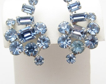 Vintage Blue Rhinestone Earrings Jewelry E7428