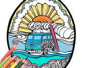 VW Surf Bus Adult Coloring Book Page Digital Download - A Colorful World Surf & Sun by Alexine and Lori Goldwag Beach Coloring Book Pages