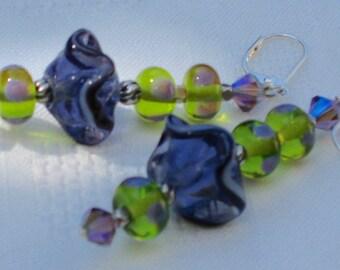 Purple Ruffle Earrings